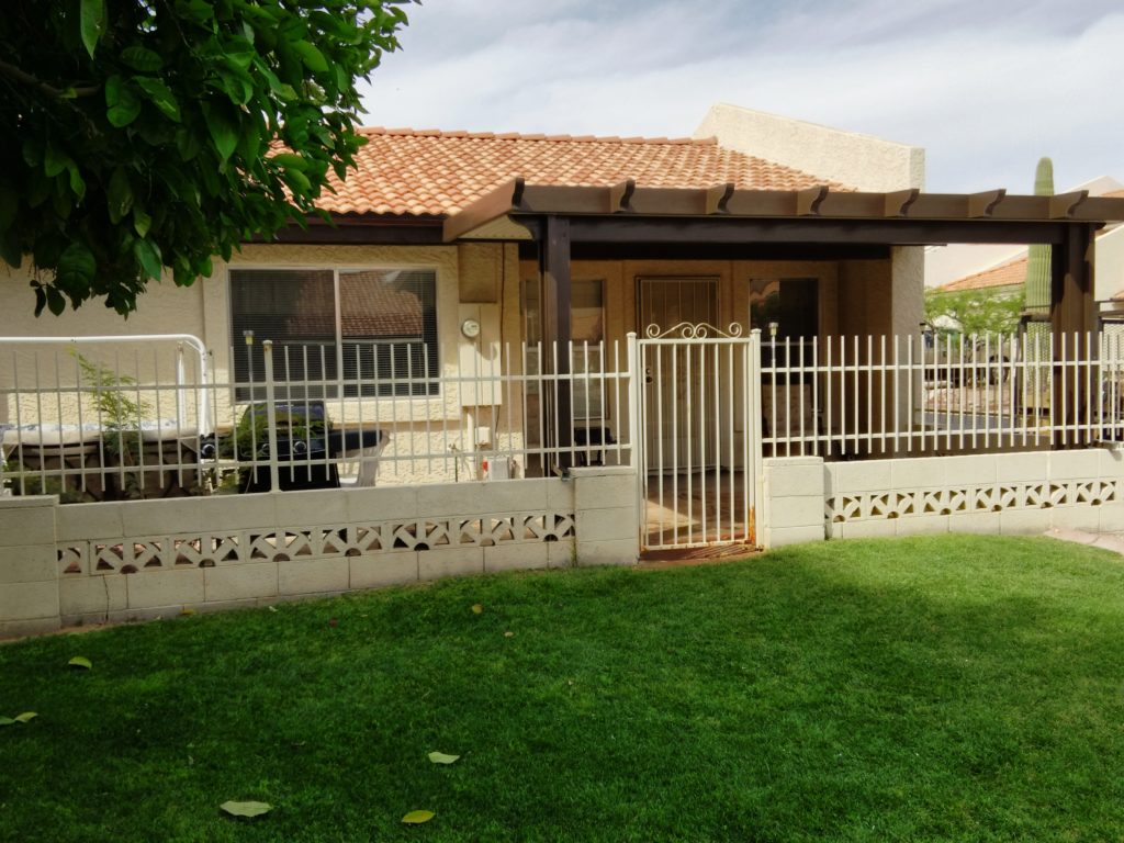 Alumawood patio cover installed by Royal Covers of Arizona in Mesa, AZ