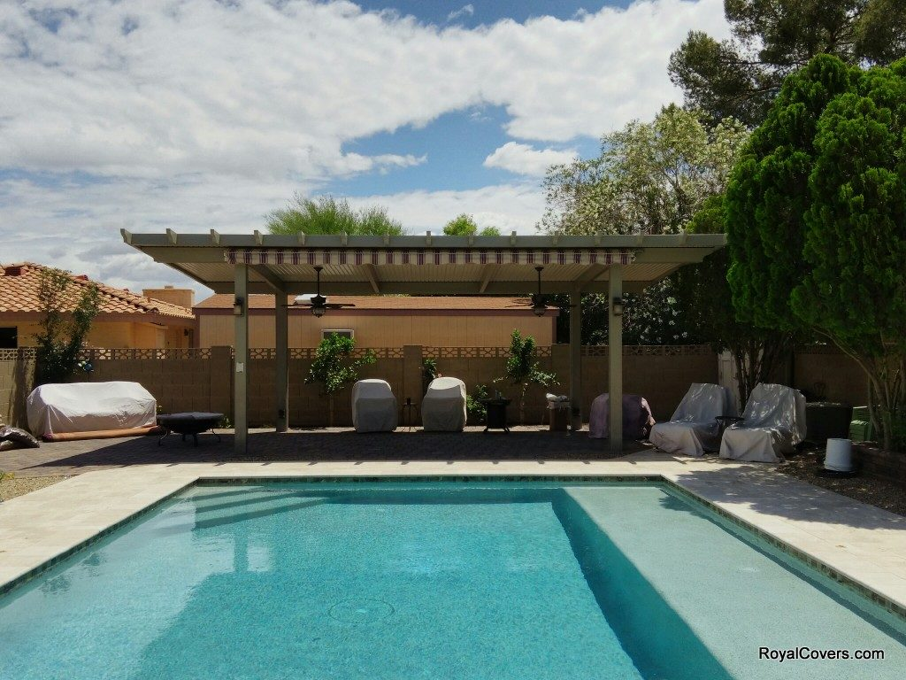 Freestanding Alumawood solid patio cover installed by Royal Covers of Arizona in Mesa, AZ.