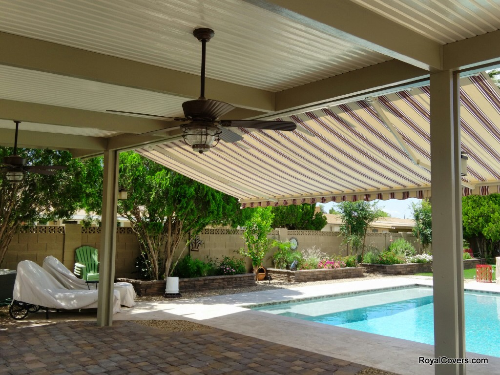 Freestanding Alumawood Patio Covers : Freestanding alumawood patio cover with retractable awning