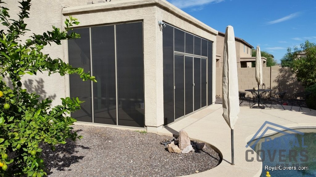 Screen room to enclose existing stucco patio cover built by Royal Covers of Arizona in San Tan Valley, AZ.