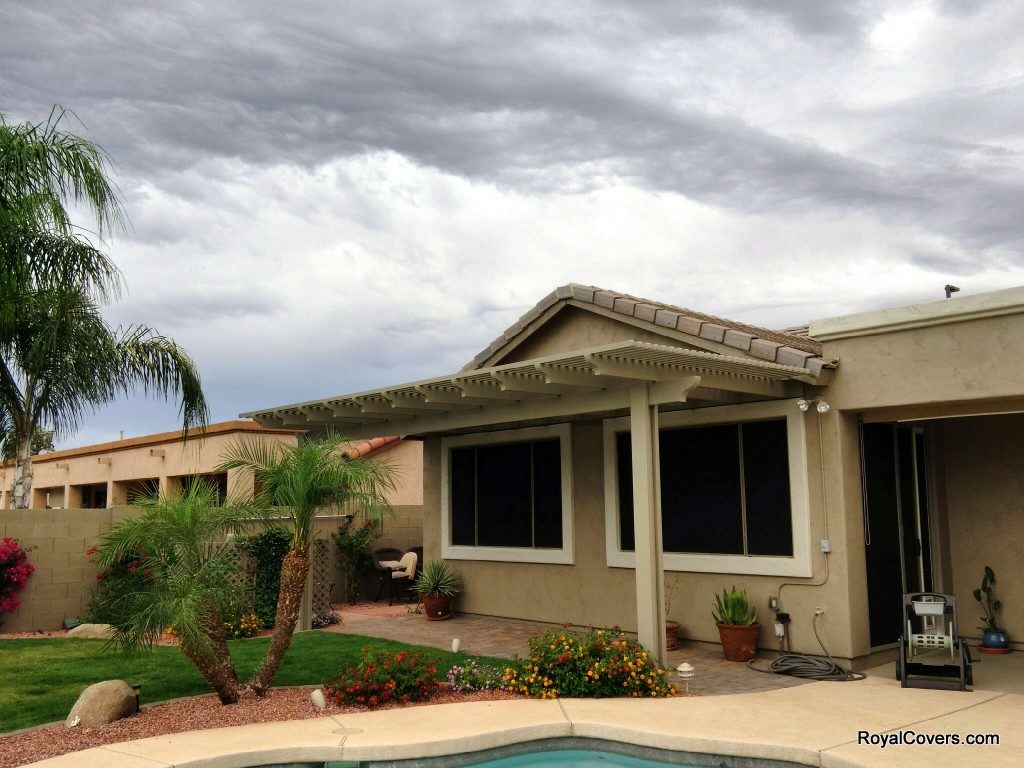 Aluminum patio covers installed by Royal Covers of Arizona in Gilbert.