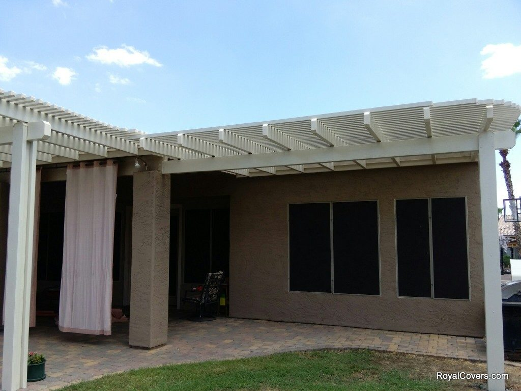 Alumawood Open Lattice Patio Covers Installed by Royal Covers of Arizona in Chandler, AZ.