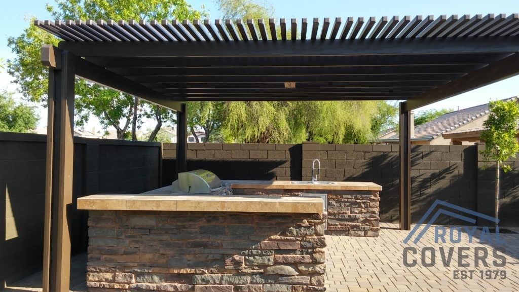 Pergola Over Outdoor Built In Grill Station   Royal Covers Of Arizona